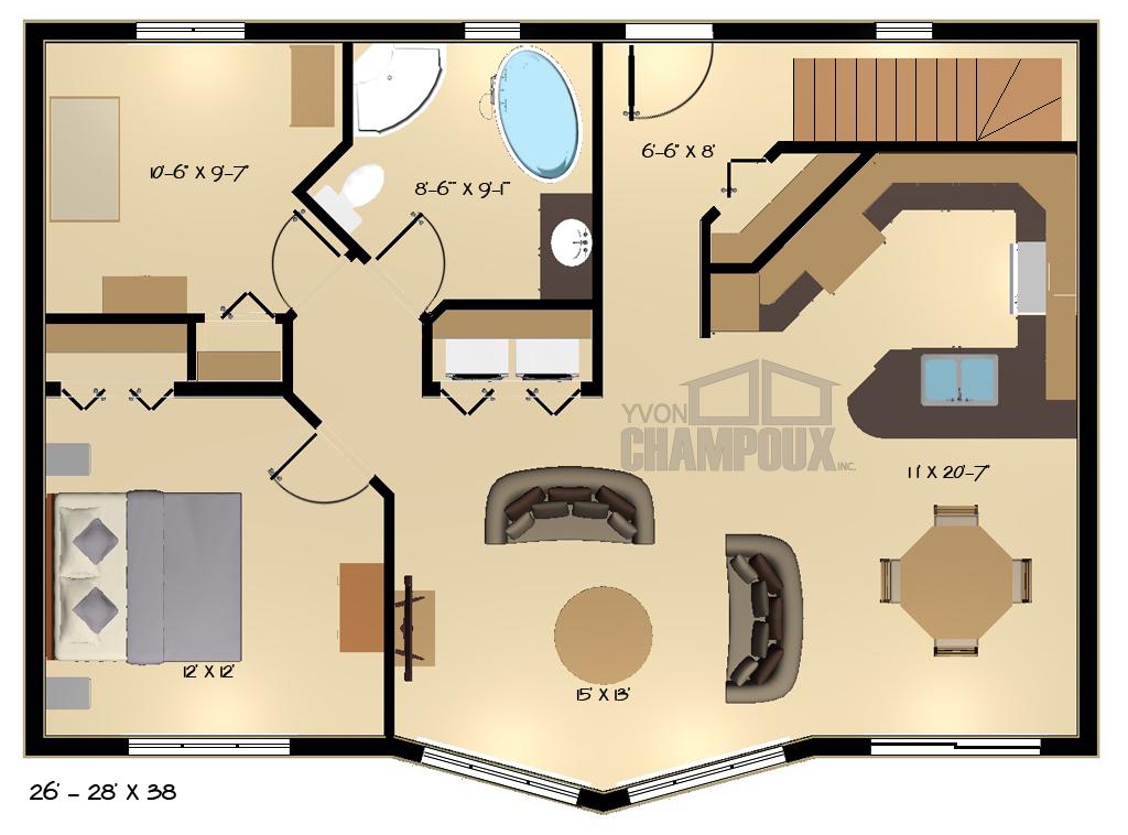 plan de maison 26 x 28
